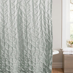 Lush Décor - Blue Lake Como Shower Curtain - Capture the whimsical look of dappled light on water with this delicate curtain's gathered diamond look. Its light hue provides the perfect relaxing touch to your home's washroom.   100% polyester Dry clean Imported