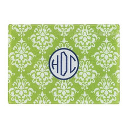 Home Decorators Collection - Monogram Cutting Board - This lovely piece will add a distinguished yet whimsical touch to any kitchen decor. With a vivid damask pattern surrounding the center, personalized medallion, this cutting board will bring color and beauty to your home decor, and with its top-quality construction, it will last for years of frequent use. Place your order today. Crafted of tempered glass that's easy-to-clean and will last for years. Personalization includes up to three capital letters.