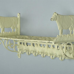 AA Importing - Cast Iron Wall Shelf in White Finish w Cow De - How delightful for anyone who collects cows or loves the country look.  This handy wall shelf is perfect for the entryway, kitchen, nursery or anywhere you can use handy storage and a touch of whimsy.  It features an open scroll work shelf and six hanging hooks for keys, hats, or even pots and pans.  Constructed of solid cast iron with an antique white finish, you're sure to enjoy this clever shelf for years to come. White painted cast iron. Hanging hardware included. Pictured in cow design. 18 in. L x 8 in. W x 11.5 in. H