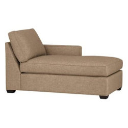 Davis Right Arm Sectional Chaise - Davis is a contemporary compact sectional designed for contemporary real life. Every imaginable configuration is possible between these modular pieces and the companion stand-alone pieces, all with firm but plump support. Upholstered in a sophisticated tonal taupe weave, they stand up to high traffic. Understated hardwood legs have a rich hickory finish. Davis sofa group also available.
