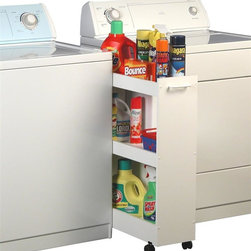 Venture Horizon - Roll-Out Laundry Caddy w 3 Shelves in White F - Fits between washer and dryer. 3 Roomy shelves with raised sides. Holds all laundry products. Rugged and sturdy construction. Water and stain resistant. Casters add mobility. Constructed from durable, stain resistant and laminated wood composites that includes MDF. Made in the USA. Assembly required. Weight: 12 lbs.. Assembled size: 8.5 in. W x 24 in. D x 32 in. HRoll out laundry caddy. We invented this handy little giant. Our Laundry Caddy is a compact 3 shelf unit that nestles nicely between the washer/dryer. Raised side rails keep everything in place. This includes all your laundry necessities like: detergent, bleach, fabric softeners, cleaning solvents, an iron and anything else you have. A must in every garage, laundry room or wherever it is needed. Rolls around smoothly on dual track carpet casters. Constructed from sturdy melamine laminated particleboard with a fresh looking white finish. Easy to clean and stain resistant.