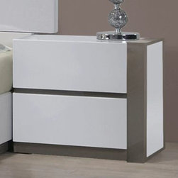 Chintaly Imports - Manila Right 2 Drawer Nightstand - MDF, Plywood, and Solid Wood. Modern Clean Design. Moistureproof and Fire Resistant. Set Up.