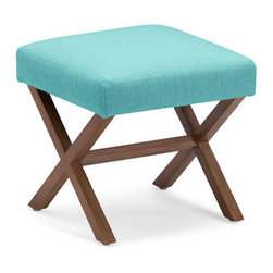 Zuo Accents - Corinthian Stool, Aqua - This square stool features solid wood legs in a natural finish which creates bold looks that can fit in any space comes with rich color, luxurious fabric, sleek modern and classic shape. The occasional subtle rustic feel all add up to outfit your livable style.