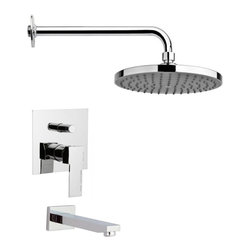 Remer - Polished Chrome Sleek Rain Shower System - Single function tub and shower faucet.
