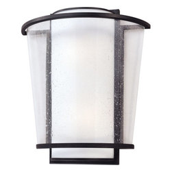 "Troy Lighting - Troy Lighting B1352 Bennington 2 Light 15"" Flush Mount Wall Sconce - The Bennington 2-Light Wall Sconce from Troy Lighting is a study in contrasts between light and dark, straight lines and angles, and clear and frosted glass. Fashioned from handcrafted wrought iron with a hand-applied Forged Bronze finish, its yin-yang palette makes a defined graphic statement while the seeded glass diffuser invites a closer look. Accommodates two 60-watt bulbs and with a dimmer switch, allows you to adjust the level of light to create mood.Features:"