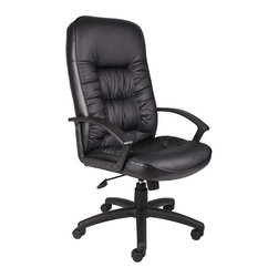 BossChair - Boss High Back Leatherplus Chair with Knee Tilt - Beautifully upholstered in black LeatherPlus. LeatherPlus is leather that is polyurethane infused for added softness and durability. Executive High Back styling with extra lumbar support . Extra thick seat and back cushion. Pneumatic gas lift provides instant seat height adjustment. Adjustable tilt tension control. Upright locking control. Durable polypropylene armrests. Large 27 nylon base for greater stability. Hooded double wheel casters. Matching guest chair with cantilever base (B7309). Optional knee-tilt mechanism upgrade available. Comes standard with knee-tilt mechanism.