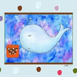 Oh How Cute Kids by Serena Bowman - W is for Whale in Blue, Ready To Hang Canvas Kid's Wall Decor, 8 X 10 - Each kid is unique in his/her own way, so why shouldn't their wall decor be as well! With our extensive selection of canvas wall art for kids, from princesses to spaceships, from cowboys to traveling girls, we'll help you find that perfect piece for your special one.  Or you can fill the entire room with our imaginative art; every canvas is part of a coordinated series, an easy way to provide a complete and unified look for any room.