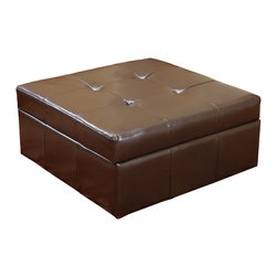 Great Deal Furniture - Westridge Brown Leather Storage Ottoman - The Westridge Brown Leather Storage Ottoman is the perfect combination of luxury and utility. It combines hidden storage with a cushioned top for extra seating.