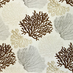Coral fabric brown ocean, Standard Cut - A coral fabric with brown, beige, and grey coral trees. An interesting ocean coral fabric for those who want a neutral ocean pattern.
