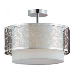 ParrotUncle - Steel Leaf Pattern Drum Frame Modern Style Fabric Semi-flush Mount - Hanging this Steel Leaf Pattern Drum Frame Modern Style Fabric Semi-flush Mount in your living room or bedroom, you'll start critiquing every other lighting fixture in the house. The light's unique design will change the way you think about illuminating a room.