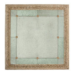 "Kathy Kuo Home - French Country Antique Gold Bilzen Large 48"" Square Rosette Mirror - A large antiqued mirror with a carved frame hand finished in Washed Gold, the Bilzen mirror is truly stunning!"