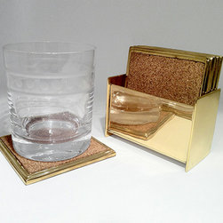 Gabriel Coasters, Brass - I love these cork and brass coasters. They even come with this chic holder.