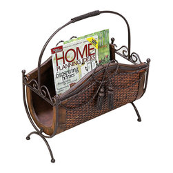 ecWorld - Sorrento Handcrafted Wicker Wood & Wrought Iron Look Floor Magazine Rack - A stunning room accent, this magazine rack is an attention-grabbing addition to any room.  It is graceful, functional, sophisticated, and a unique way to add storage to your living spaces.  Designed with wood, wicker, and metal to look like wrought iron, this Magazine Rack is handcrafted & hand-finished, and boasts a unique style.