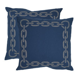 Safavieh - Safavieh Sibine 22-inch Navy/ Blue Decorative Pillows (Set of 2) - Add a jolt of elegance and nautical charm to your home with these pretty 22-inch blue decorative pillows. These pillows have a fun chain pattern forming a square on the front and are sized just right for propping up your head while napping.