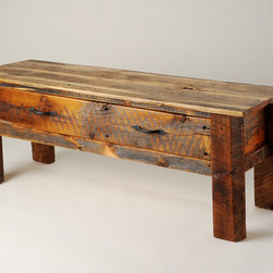 Rustic Furniture Portfolio - This rustic bench features a single double-pull drawer, and would be great at the foot of a bed or entryway.  Hand forged and oil-blackened pulls highlight the contrasting colors due to skip-planing the reclaimed Montana barn wood.  The legs were original blocking used between trusses, and hand-hewn to match the slope of the barn roof.