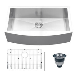 Ruvati - Ruvati RVH9300 Apron Front Kitchen Sink - Elegant, apron-front farmhouse kitchen sinks are a bold addition to any kitchen. Deep, rectangular bowls with bottom drain grooves and a curved apron front define the Verona series.