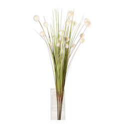 """Pier Surplus - 42"""" Deco Bundle """"Flower Ball"""", Set of Four  #HD222556 - Bundle of four delicate plastic grasses with 5 single white, fluffy inflorescence each stem to decorate vases and flower arrangements. Color: Green. Material: Plastic. About 42"""" H."""