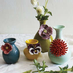 Curvy Chrysanthemum Vase - Flowers in a floral vase? Why not? I love these playful vases from Anthropologie and think they could even make weeds look cute on your table this spring.