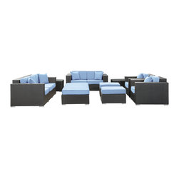 LexMod - Eclipse Outdoor Wicker Patio 9 Piece Sofa Set in Espresso w/ Light Blue Cushions - Achieve cosmic aptitude with this empirically abundant outdoor living set. Discover more than the eye can see with Eclipse's radiant light blue all-weather cushions and espresso rattan base. Leave an impression on your surrounding and contemplate the incredible as you triumph on the pathway to new perspectives.