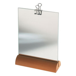 Alessi - Alessi Photo Frame - Feeling of two minds? This unique photo frame with a pearwood base allows you to display one shot on one side, and one on the other. The pane of glass allows the two photos to be in conversation, creating an overall look and feel that you can carefully curate.