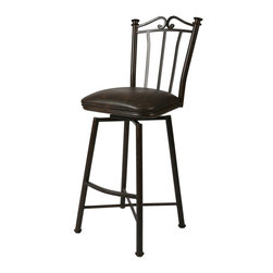 """Pastel Furniture - Pastel Laguna 26 Inch Barstool - This swivel barstool features a quality metal frame with sturdy legs and foot rest finished in Autumn Rust, Bronze or Matte Black. The padded seat is upholstered in Florentine Coffee, Shandora Toast or Leather Touch Black offering comfort and style. Available in 26"""" counter height. - LG-219-26.  Product features: Belongs to Laguna Collection; Traditional Style; 26 Inch Swivel Barstool; Steel Frame: Autumn Rust, Bronze or Matte Black Finish; Florentine Coffee, Shandora Toast or Leather Touch Black Seat; Manufacture Warranty: 1 year. Product includes: Barstool (1). 26 Inch Barstool belongs to Laguna Collection by Pastel."""