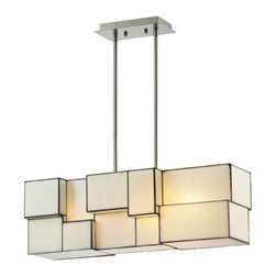 Elk Lighting - Cubist Brushed Nickel 9-Inch Four Light Chandelier - - Cubes of Tiffany Glass are assembled into a structure of offsetting staggered cubes, creating an innovative textural expression. with hardware in Brushed Nickel, this series comes with a choice of white or limited edition dusk sky Tiffany Glass.  - Extension Rods: 2x6+2x12+2x24 Elk Lighting - 72063-4