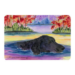 Caroline's Treasures - Curly Coated Retriever Kitchen or Bath Mat 24 x 36 - Kitchen or Bath Comfort Floor Mat This mat is 24 inch by 36 inch. Comfort Mat / Carpet / Rug that is Made and Printed in the USA. A foam cushion is attached to the bottom of the mat for comfort when standing. The mat has been permanently dyed for moderate traffic. Durable and fade resistant. The back of the mat is rubber backed to keep the mat from slipping on a smooth floor. Use pressure and water from garden hose or power washer to clean the mat. Vacuuming only with the hard wood floor setting, as to not pull up the knap of the felt. Avoid soap or cleaner that produces suds when cleaning. It will be difficult to get the suds out of the mat.