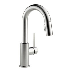 "Delta - Delta 9959-AR-DST Trinsic Series Deck-Mounted Pull-Down Kitchen Faucet - The Delta 9959-AR-DST is a Trinsic Series Deck-Mounted Pull-Down Kitchen Faucet. This deck-mounted pull-down kitchen faucet features a two-function pull-down spout sprayer, a solid brass fabricated body, and a single lever handle for precise temperature and volume control. This model has a 13"" tall 6-1/2"" long spout, and a Touch-Clean spray head that allows for less mineral build-up. Itcomes with a MagnaTite docking system, and dual integral check valves in the sprayer for less backflow. This faucet also comes with an optional 10-1/2"" keyed escutcheon for an easier installation, and a 1.8 GPM flow rate. This faucet is ADA and CalGreen compliant. This model comes in a brilliant, Arctic Stainless Steel finish."