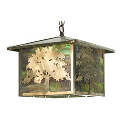 """Meyda Lighting - Meyda Lighting 12"""" Sq Oak Tree Lantern Pendant - A Sprawling Oak Tree Accents Each Side Of This Lantern Pendant, Handcrafted In The USA By Meyda Artisans. This Nature Inspired Fixture Is"""
