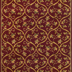 """KAS - KAS Corinthian 5336 (Red) 5'3"""" x 7'7"""" Rug - Our Corinthian series is machine-woven in China of 100% heat-set polypropylene and hand-carved with specific attention to detail. This line features classic Aubusson floral patterns, a look usually found only in traditional hand-knotted collections. This timeless classic has been designed with today's colors in mind, bringing a beautiful blend of yesterday and today to your home."""