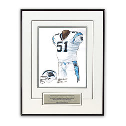 "Heritage Sports Art - Original art of the NFL 2006 Carolina Panthers uniform - This beautifully framed piece features an original piece of watercolor artwork glass-framed in a timeless thin black metal frame with a double mat. The outer dimensions of the framed piece are approximately 13.5"" wide x 17.5"" high, although the exact size will vary according to the size of the original piece of art. At the core of the framed piece is the actual piece of original artwork as painted by the artist on textured 100% rag, water-marked watercolor paper. In many cases the original artwork has handwritten notes in pencil from the artist. Simply put, this is beautiful, one-of-a-kind artwork. The outer mat is a clean white, textured acid-free mat with an inset decorative black v-groove, while the inner mat is a complimentary colored acid-free mat reflecting one of the team's primary colors. The image of this framed piece shows the mat color that we use (Silver). Beneath the artwork is a silver plate with black text describing the original artwork. The text for this piece will read: This original, one-of-a-kind watercolor painting of the 2006 Carolina Panthers uniform is the original artwork that was used in the creation of thousands of Carolina Panthers products that have been sold across North America. This original piece of art was painted by artist Nola McConnan for Maple Leaf Productions Ltd. The piece is framed with an extremely high quality framing glass. We have used this glass style for many years with excellent results. We package every piece very carefully in a double layer of bubble wrap and a rigid double-wall cardboard package to avoid breakage at any point during the shipping process, but if damage does occur, we will gladly repair, replace or refund. Please note that all of our products come with a 90 day 100% satisfaction guarantee. If you have any questions, at any time, about the actual artwork or about any of the artist's handwritten notes on the artwork, I would love to tell you about them. After placing your order, please click the ""Contact Seller"" button to message me and I will tell you everything I can about your original piece of art. The artists and I spent well over ten years of our lives creating these pieces of original artwork, and in many cases there are stories I can tell you about your actual piece of artwork that might add an extra element of interest in your one-of-a-kind purchase. Please note that all reproduction rights for this original work are retained in perpetuity by the National Football League unless specifically stated otherwise in writing by the NFL. For further information, please contact Heritage Sports Art at questions@heritagesportsart.com ."