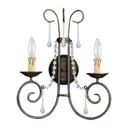 Crystorama Lighting - Crystorama Lighting 5202-DR-CL-SAQ Soho Transitional / Eclectic Sconce - Crystorama Lighting 5202-DR-CL-SAQ Soho Transitional / Eclectic Sconce In Dark Rust With Clear Swarovski Spectra Crystal
