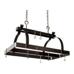 "Enclume - Premier Classic Rectangle Pot Rack W/Center Bar Hammnered Steel - Dimensions: 30""L x 18.5""W x 22""H"