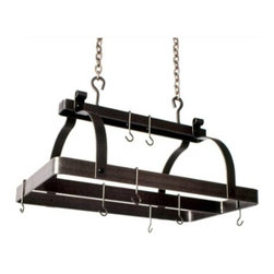 "Enclume - Premier Classic Rectangle Pot Rack W/Center Bar Hammnered Steel - Dimensions: 30""L x 18.5""W x 22""H"