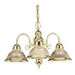 DHI-Corp - Millbridge 3-Light Chandelier, Polished Brass - The Design House 509265 Millbridge 3-Light Chandelier is made of formed steel, clear ribbed glass and finished in polished brass. This 3-light chandelier is rated for 120-volts and uses (3) 60-watt medium base incandescent bulbs. This chandelier's sprawling arms meet (3) downward facing lamps gently diffusing light from above. Measuring 14-inches (H) by 22-inches (W), this 6.3-pound fixture has a 48-inch chain to extend from high ceilings. Curved lines and soft details add a modern accent in a kitchen, dining room or entry way. This product is UL and cUL listed. The Millbridge collection features a beautiful matching pendant, wall sconce, ceiling mount and vanity light. The Design House 509265 Millbridge 3-Light Chandelier comes with a 10-year limited warranty that protects against defects in materials and workmanship. Design House offers products in multiple home decor Categories including lighting, ceiling fans, hardware and plumbing products. With years of hands-on experience, Design House understands every aspect of the home decor industry, and devotes itself to providing quality products across the home decor spectrum. Providing value to their customers, Design House uses industry leading merchandising solutions and innovative programs. Design House is committed to providing high quality products for your home improvement projects.