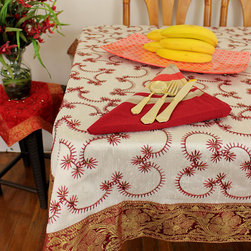 "Unique & Decorative Tablecloths - Dazzling ""Creamy Saffron"" Hand Embroidered Square tablecloth. Indian made. Dupion Silk fabric. Elegant complement to any room."