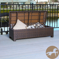 Christopher Knight Home - Christopher Knight Home Santiago Brown Wicker Storage Ottoman - Store your yard and pool items in style with this fashionable storage ottoman. This ottoman functions as both a spacious storage container and a comfortable seat. Stylish brown and stable, this item is perfect for outdoor and indoor use.