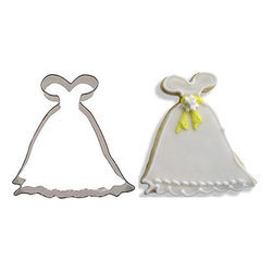 RM - Princess Gown Dress 4 In. B0927 - Princess Gown Dress cookie cutter, made of sturdy tin, Size 4 in., Depth 7/8 in., Color silver