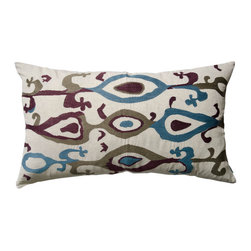 "KOKO - Ankara Pillow, 15"" x 27"" - The shape of this sham is perfect to break up your mix of square sofa pillows. The combination of rich embroidery and stylish ikat creates a lush landscape. It would be great mixed with other patterns or alone on a side chair."