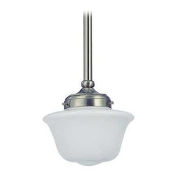 Design Classics Lighting - 8-Inch Period Lighting Schoolhouse Mini-Pendant Light - FA4-09 / GD8 - Satin nickel finish mini-pendant light with Bridlemile schoolhouse opal white glass. Includes three 12-inch and one six-inch stem segments to allow for flexibility in height adjustment from a minimum of 17-inches to a maximum height of 52-1/2-inches. Takes (1) 150-watt incandescent A21 bulb(s). Bulb(s) sold separately. UL listed. Dry location rated.