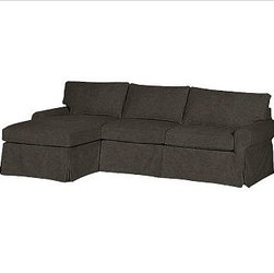 """PB Basic Right 2-Piece with Chaise Sectional Slipcover, Velvet Dark Heather Gray - Designed exclusively for our PB Basic Sectional, these easy-care slipcovers have a casual drape, retain their smooth fit, and remove easily for cleaning. Select """"Living Room"""" in our {{link path='http://potterybarn.icovia.com/icovia.aspx' class='popup' width='900' height='700'}}Room Planner{{/link}} to select a configuration that's ideal for your space. This item can also be customized with your choice of over {{link path='pages/popups/fab_leather_popup.html' class='popup' width='720' height='800'}}80 custom fabrics and colors{{/link}}. For details and pricing on custom fabrics, please call us at 1.800.840.3658 or click Live Help. All slipcover fabrics are hand selected for softness, quality and durability. {{link path='pages/popups/sectionalsheet.html' class='popup' width='720' height='800'}}Left-arm or right-arm configuration{{/link}} is determined by the location of the arm on the love seat as you face the piece. This is a special-order item and ships directly from the manufacturer. To view our order and return policy, click on the Shipping Info tab above."""