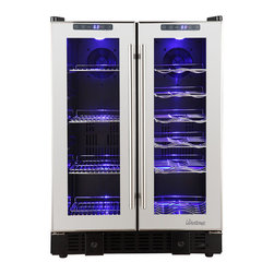 Vinotemp - 36-Bottle Mirrored Touch Screen Wine & Bevera - Wine and beverage cooler with beautiful mirrored trim. For freestanding or built-in installation. Sturdy black metal cabinet with dual-pane glass door. Modern pole handle. Sturdy wire racking. Soft-glowing interior LED lighting. Temperature range: left zone 36-43���F/right zone 40-72���F. Capacity: left zone 58 12oz. cans/right zone 19 standard wine bottles. 23.4 in. W x 22.44 in. D x 32.28 in. H (110 lbs)The VT-36TS-SM is perfect for those who love to entertain. This sleek mirrored cooler can house up to 19 standard wine bottles on the right side and 58 12 oz. cans on the left side. Front exhaust allows this cooler to fit seamlessly into existing cabinetry, lending a modern touch to any room. Touch screen control panels located at the top of each door allow you to monitor the temperature as well as adjust the temperature as needed.