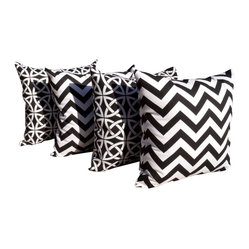 Land of Pillows - Chevron Black and Linked in Black and White Outdoor Throw Pillows - Set of 4, 18 - Chevron Black and Linked in Black and White Outdoor Throw Pillows - Set of 4