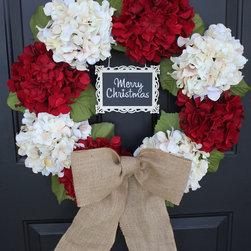Cream & White Hydrangea Wreath with Unique Chalkboard Greeting - Write your own - Red & White Silk Hydrangea Wreath with Metal framed Chalkboard and Burlap Bow.  Write your own personalized greeting!  The back of wreath has a wire hook for hanging.