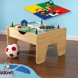 KidKraft - Kids Table With Board Kidkraft 2 in 1 Activity Table with Board From Vistastores - This 2in1 Activity Table Board is a funny gift idea for any young or up to 10 years old child. The table will fit in any corner of the house. Your parents will surely love it. It's 200 LEGO compatible blocks, 30-piece train set, Double-sided play board, Convenient storage under the play board Make it a multipurpose toy for kit.