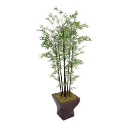 Laura Ashley - Laura Ashley 82-inch Black Bamboo Tree with Fiberstone Planter - Give your home or office a tranquil accent with this artificial tall bamboo tree. Lifelike yet without the concern for water damage or trimming,this stunning black tree comes complete with a decorative fiberstone planter.