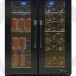 Vinotemp - VT-36 TS Wine & Beverage Cooler with Touch Screen Control Panels  Front Exhaust - The VT-36TS is perfect for those who love to entertain This sleek all-black cooler can house up to 19 standard wine bottles on the right side and 58 12 oz cans on the left side Front exhaust allows this cooler to fit seamlessly into existing cabinetr...