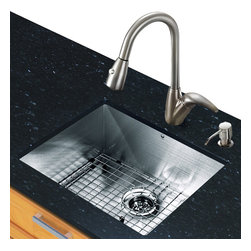 Vigo - All in One 23in.  Undermount Stainless Steel Kitchen Sink and Faucet Set - Revitalize the look of your kitchen with a VIGO All in One Kitchen Set featuring a 23in.  Undermount kitchen sink, faucet, soap dispenser, matching bottom grid and sink strainer.