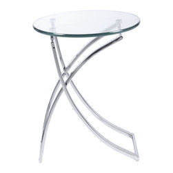 Eurø Style - Talisa Side Table with Crossed Legs - Upgrade your living room area with this ultra modern Talisa Side Table that has a sleek design further enhanced by shiny chromed steel base.