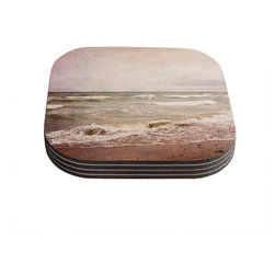 "Kess InHouse - Iris Lehnhardt ""Romantic Sea"" Beach Brown Coasters (Set of 4) - Now you can drink in style with this KESS InHouse coaster set. This set of 4 coasters are made from a durable compressed wood material to endure daily use with a printed gloss seal that protects the artwork so you don't have to worry about your drink sweating and ruining the art. Give your guests something to ooo and ahhh over every time they pick up their drink. Perfect for gifts, weddings, showers, birthdays and just around the house, these KESS InHouse coasters will be the talk of any and all cocktail parties you throw."